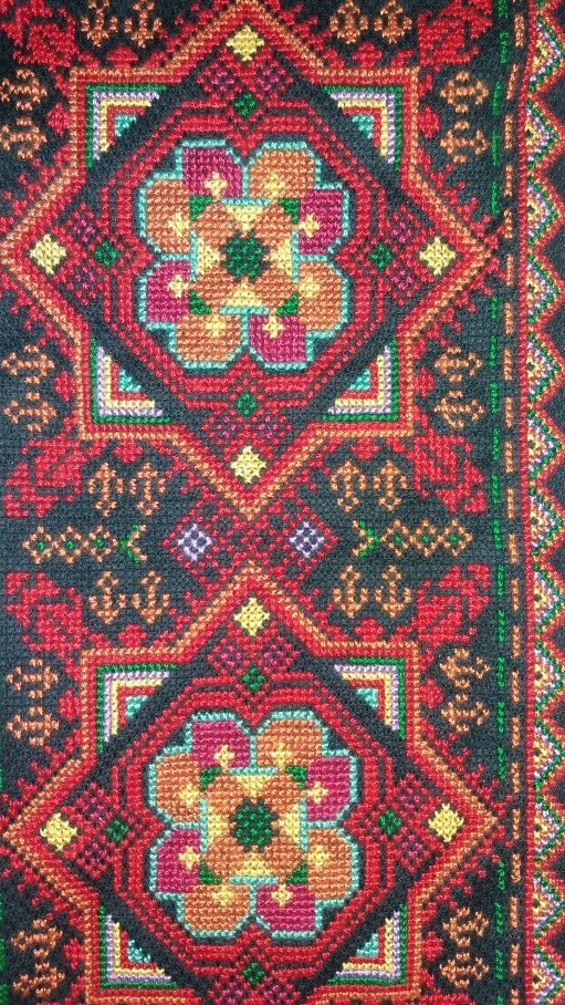 Beautiful Palestinian Bedouin embroidered wall hanging. The cross stitch embroidery is fully handmade by Bedouin women according to traditional design.  Width 20 cm x height 37 or 67 or 84 cm. For more sizes and other wall hangings see: https://sites.google.com/site/bedouinart/homing/wallhangings