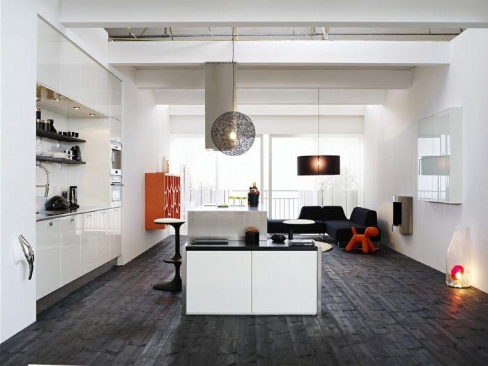Mbel Trends Skandinavisch Einrichten Offener Wohnplan Weisse Wandfarbe Dunkler Boden