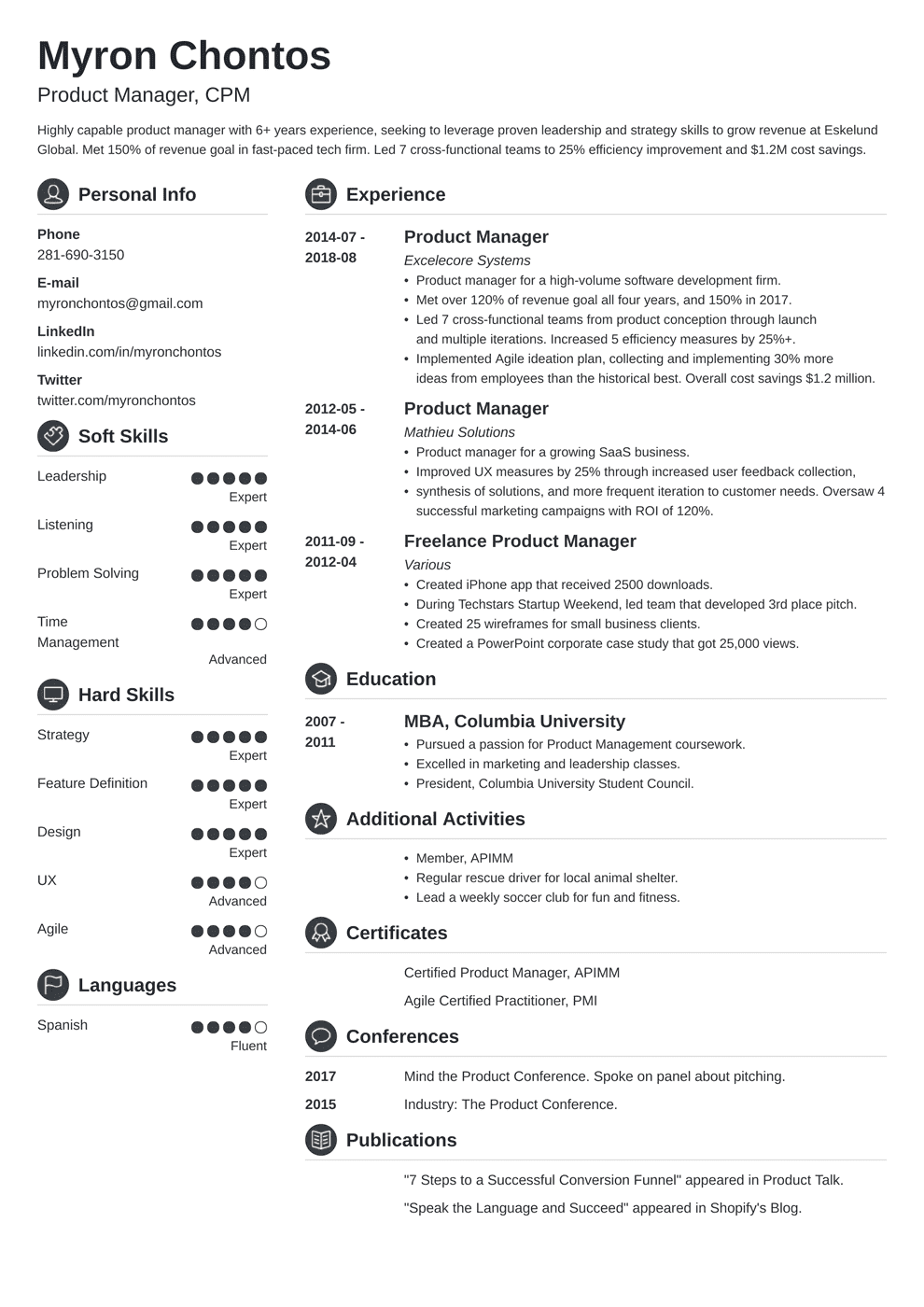 product manager resume template crisp in 2020 Resume
