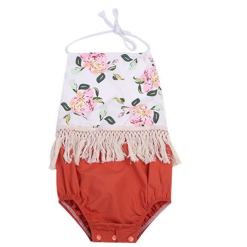 39c104b154ea Summer Newborn Infant Baby Girl Floral Tassel Romper Backless Jumpsuit  Outfits Sun-suit Clothes