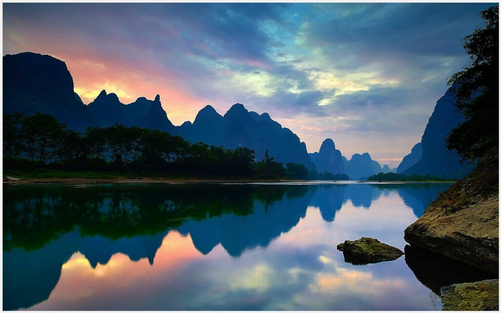 Yangshuo China River Landscape Wallpaper