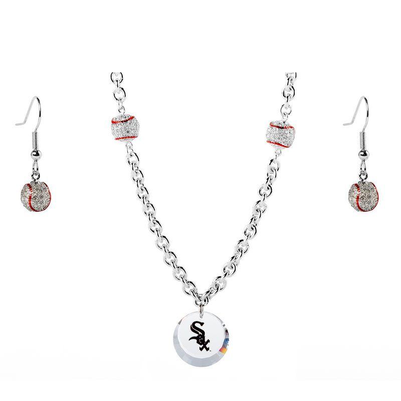 754559da8b43 Chicago White Sox Crystals from Swarovski Baseball Necklace   Earrings