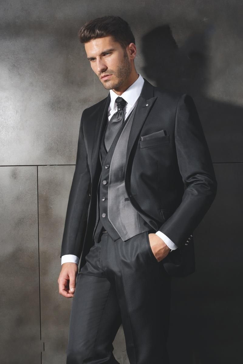 Custom made tuxedo black wedding dress man suit groom suit trajes de