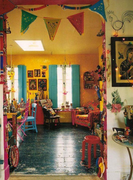 gelbe Wand bunte Möbel Die perfekte Mexikanische Dekoration - gelbe dekowand blume fr wohnzimmer