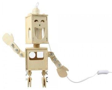 Double-Face Robot Wooden Desk Lamp - contemporary - Table Lamps - ParrotUncle