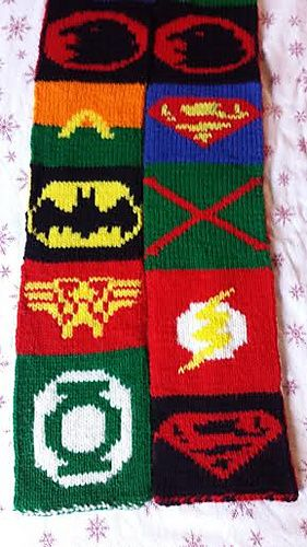 Justice League Scarf Free Knitting Pattern And More Free Fun Scarf