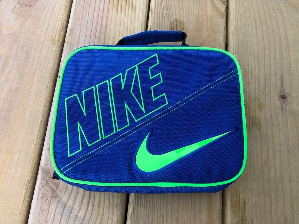 new arrival 85bcb c3210 Blue Nike zip up Lunch Box Insulated w  Green Swoosh  Nike  LunchBag