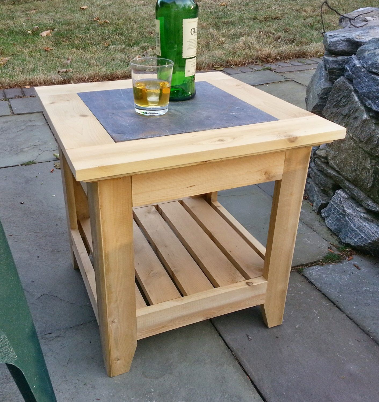Handmade Cedar Patio Side Table With A Tile Inlay Outdoor Patio