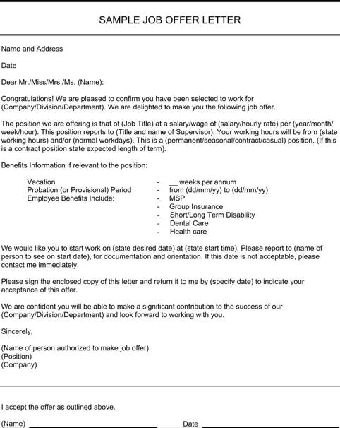 Job Offer Letter Sample TemplatesForms Pinterest – Job Offer Letters