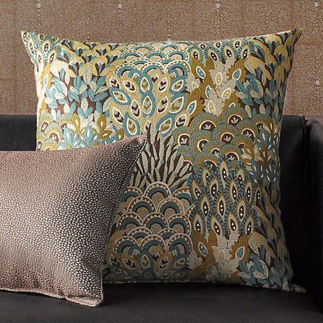 Dandeli Peacock Feather Pillows Gump s