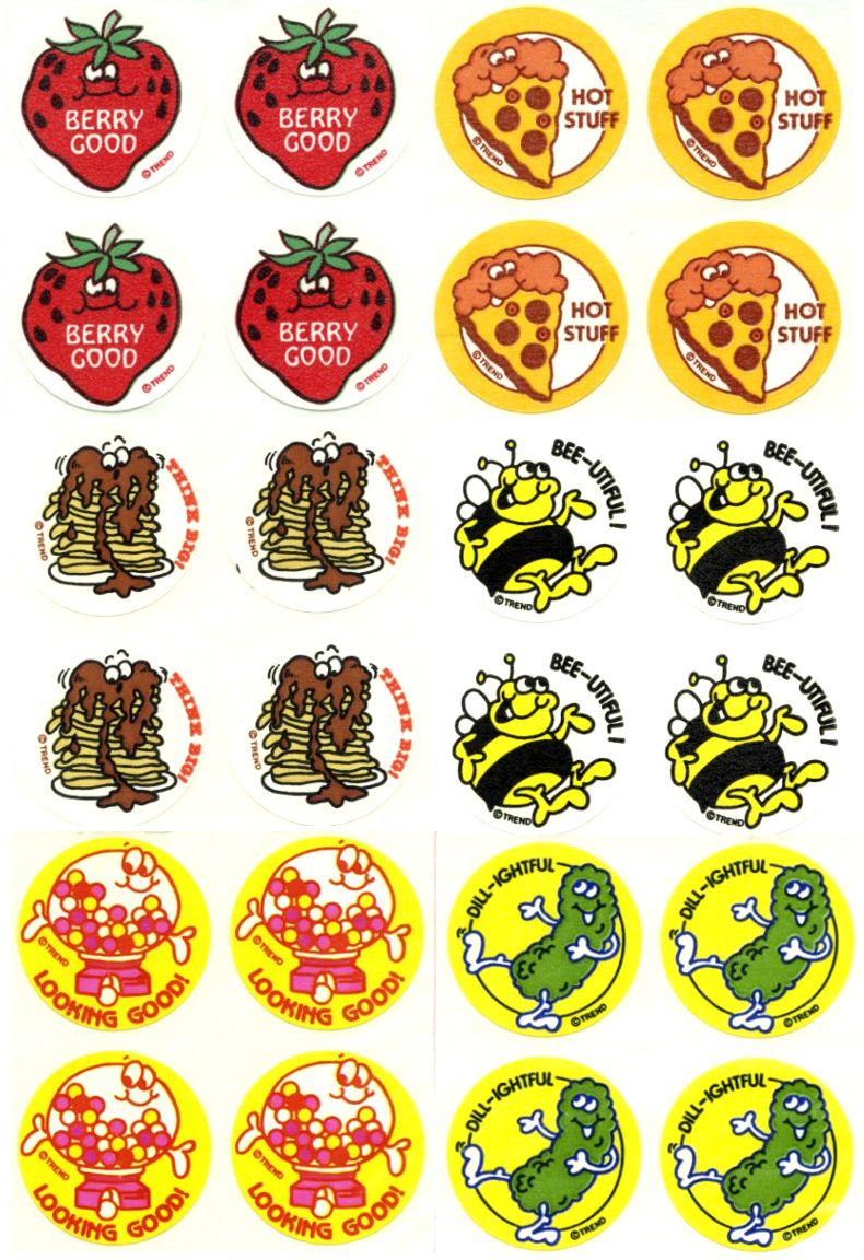 """10 STRAWBERRY SHORTCAKE Scratch n' Sniff  Berry 2.5"""" x 2.5/"""" Party Favor Stickers"""