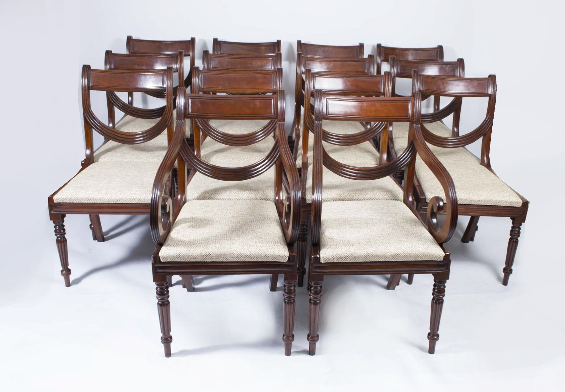 A magnificent set of 14 English Regency mahogany dining chairs