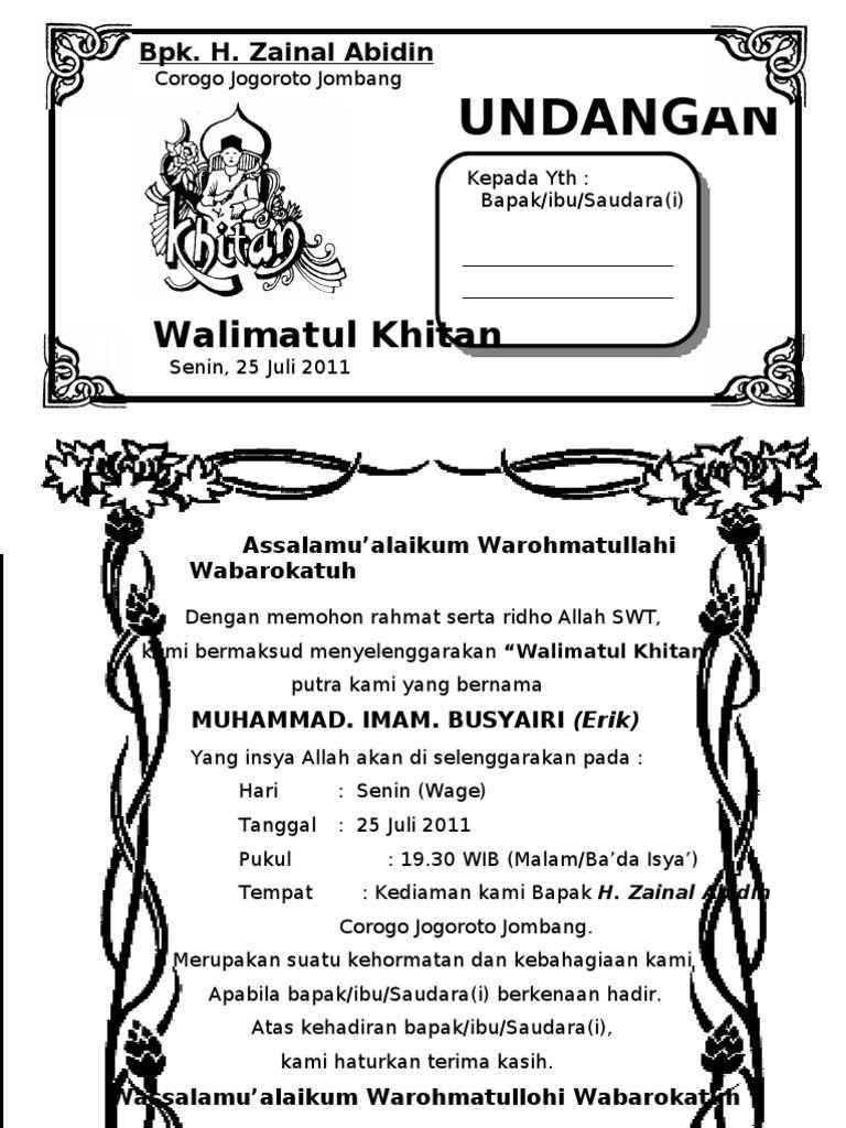 Hasil Gambar Untuk Undangan Walimatul Khitan