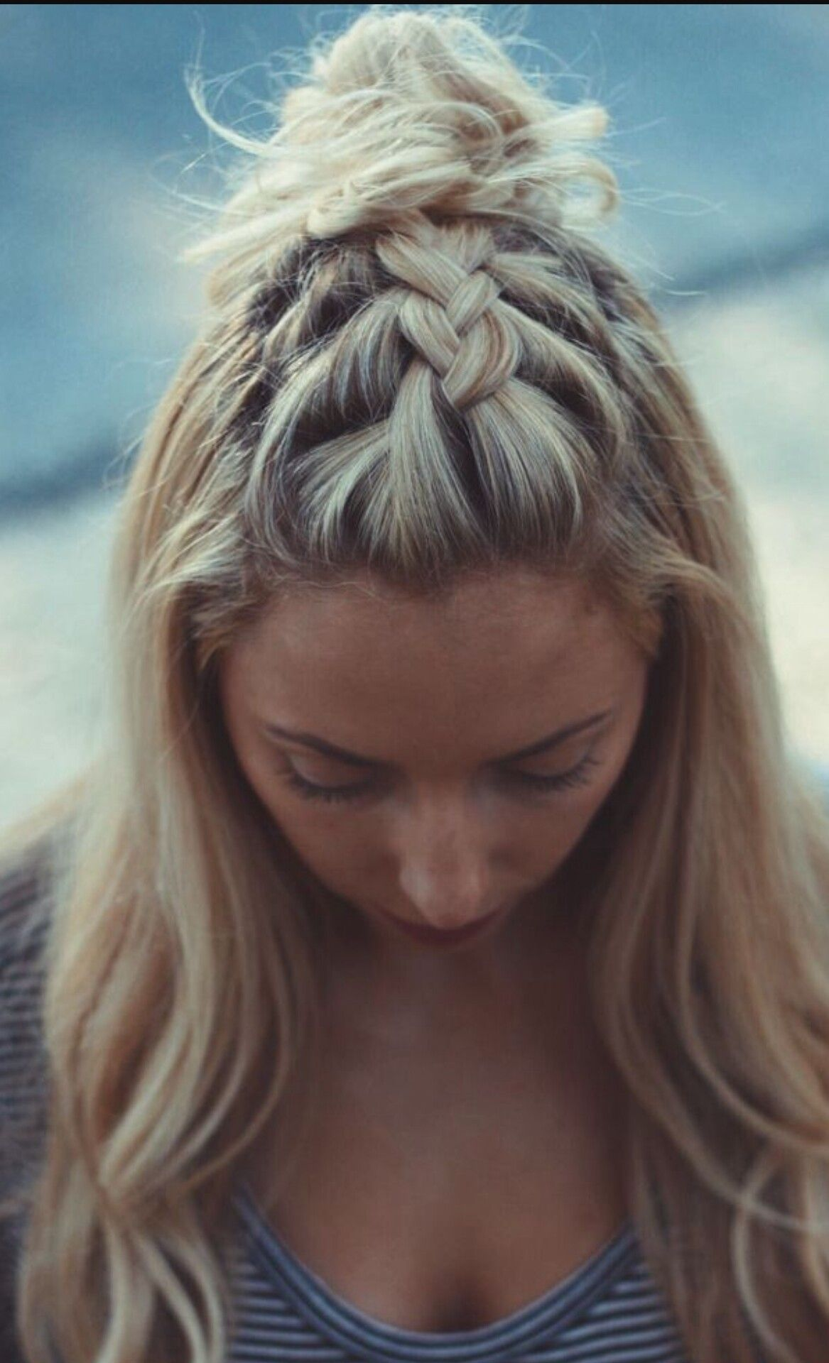 This is just a french braid on top of the head!