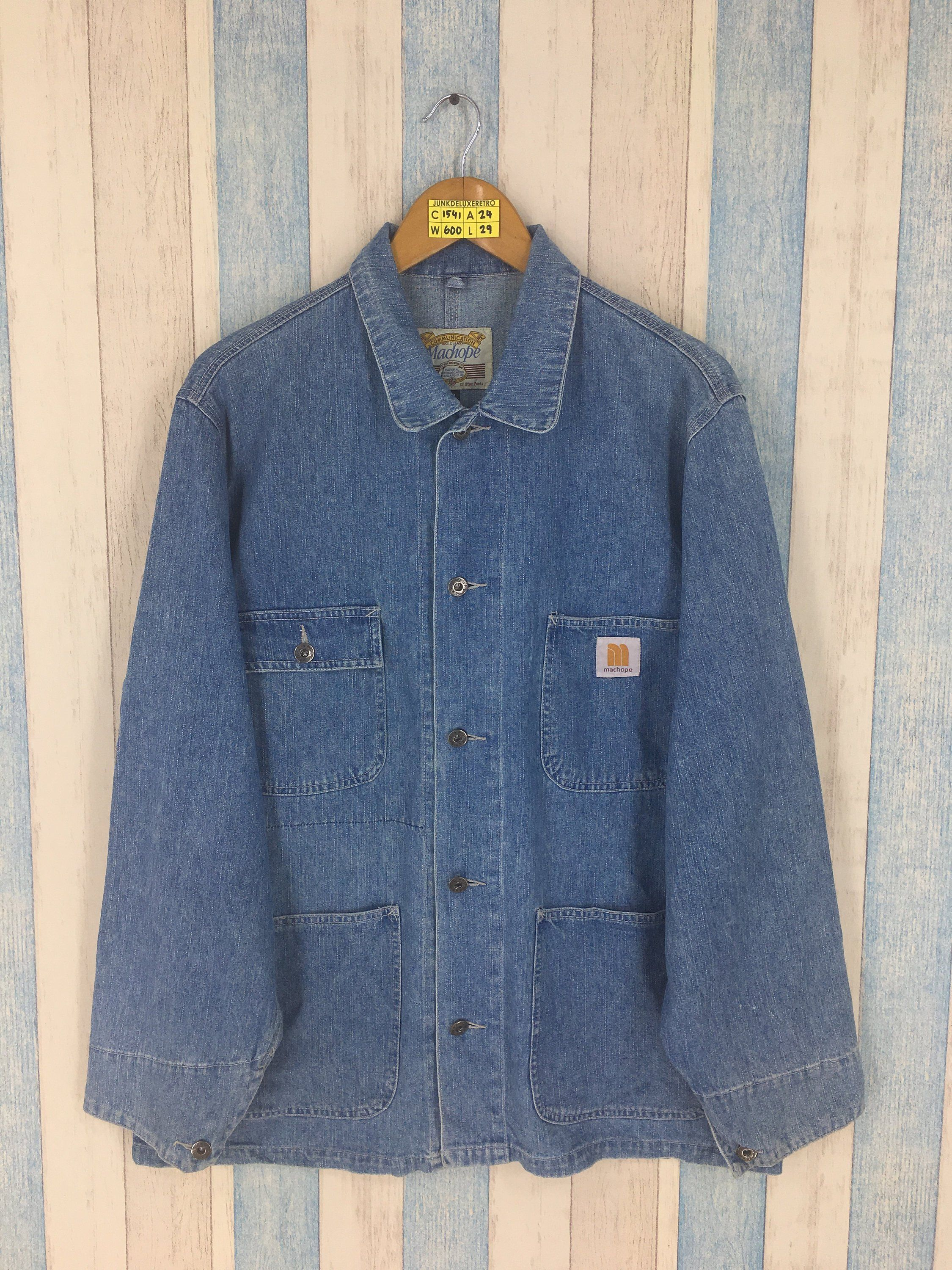 c0e26acab7f Vintage MACHOPE Denim Jacket Medium 80 s Machope Workwear Chore Jacket Jeans  Four Pockets Union Made Blue