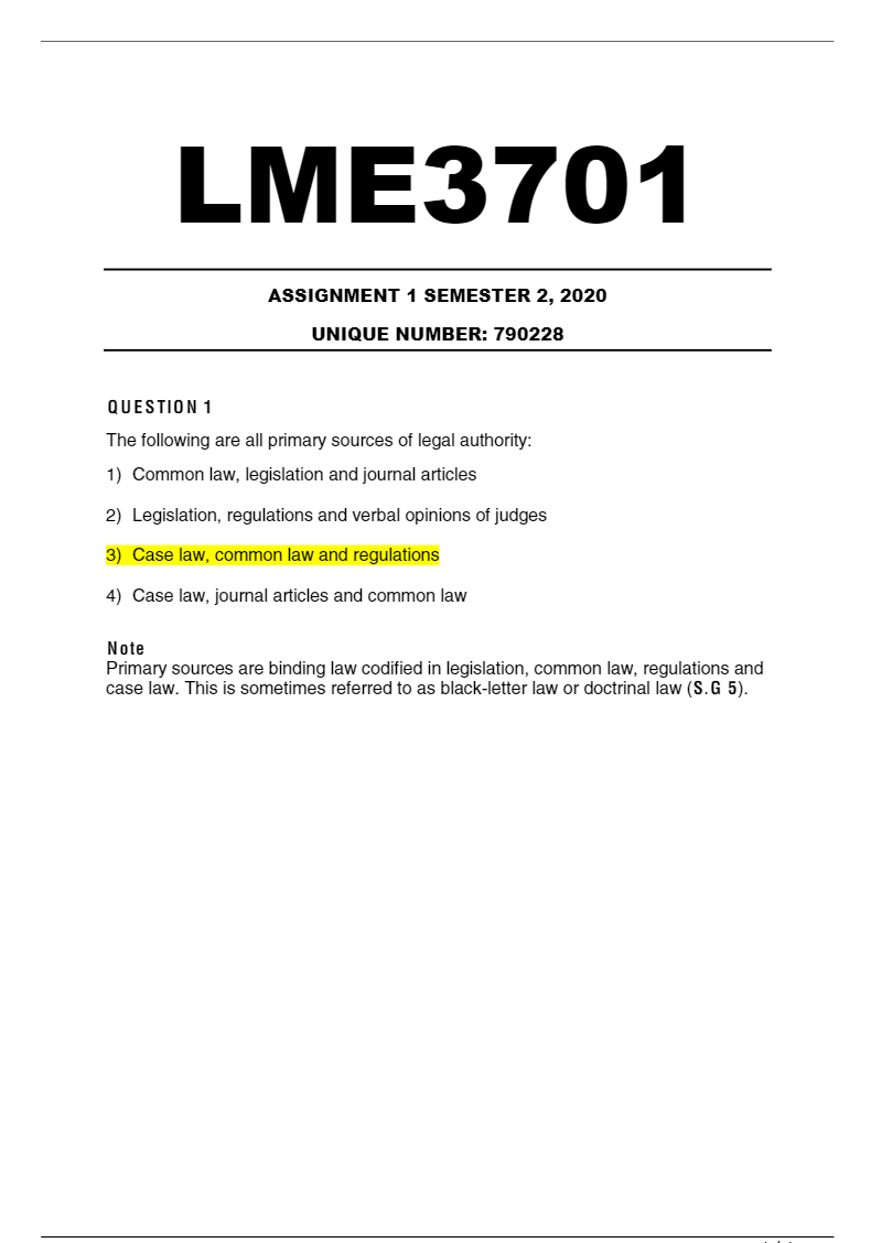 Lme3701 Assignment 1 Semester 2 2020 Solutions To Lme3701 Assignment 1 For Semester 2 2020 In 2021 Law Notes Semester Common Law