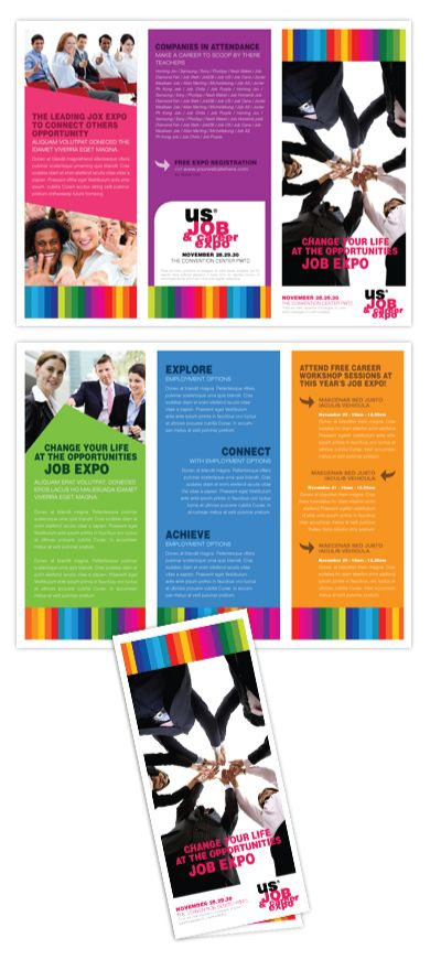 Job expo career fair tri fold brochure template great for Job fair brochure template