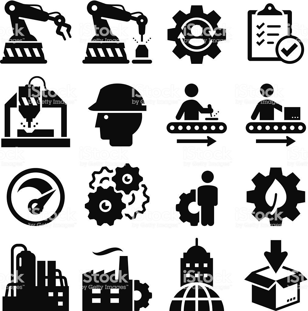 Manufacturing plant and factory icons. Vector icons for