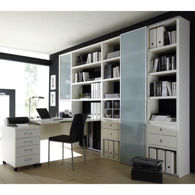 Details zu Wohnzimmer Aktenschrank mit Schreibtisch Lack weiß ...