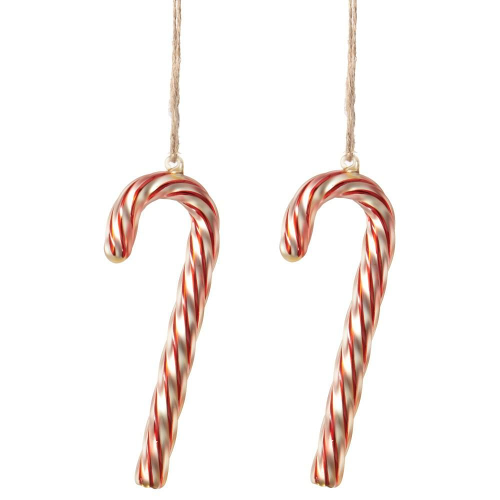 Glass candy cane ornaments - W Swirled Glass Candy Cane Christmas Ornaments Set Of 2