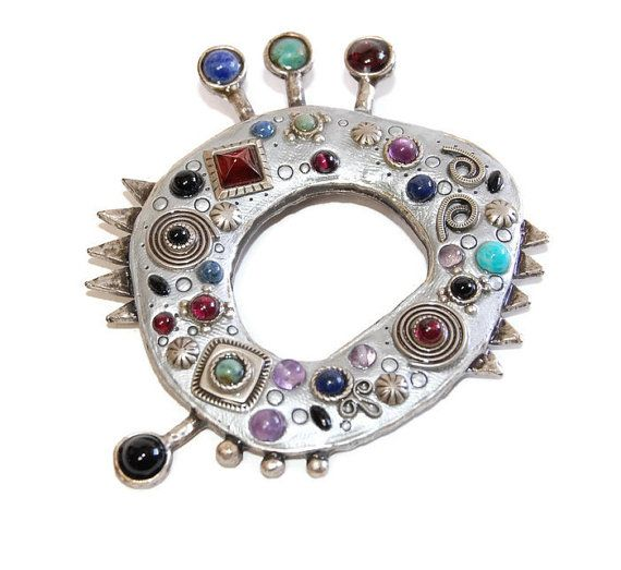 Michal Golan Tribal Pendant Brooch Designer Vintage Mosaic Modernist Jewelry