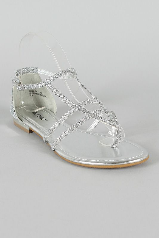 40e1089fca0 cheap shoes for women. Rhinestone Strappy Thong Flat Sandal  22.20