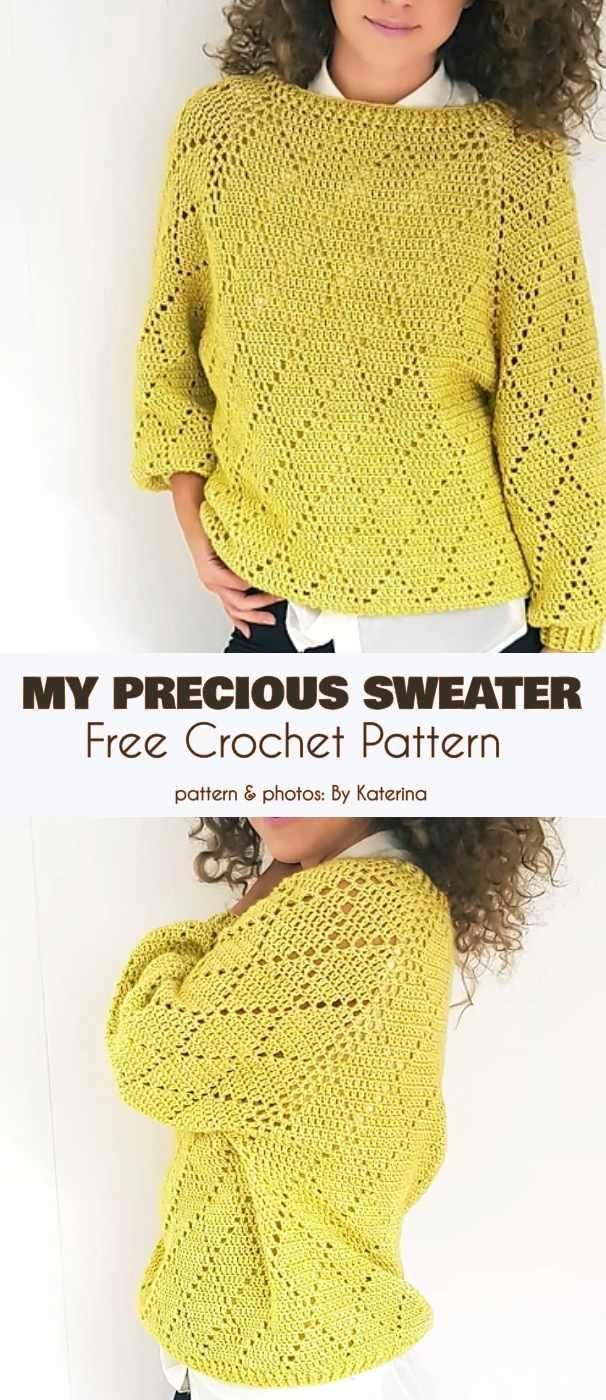 My Precious Sweater Free Crochet Pattern #sweatercrochetpattern