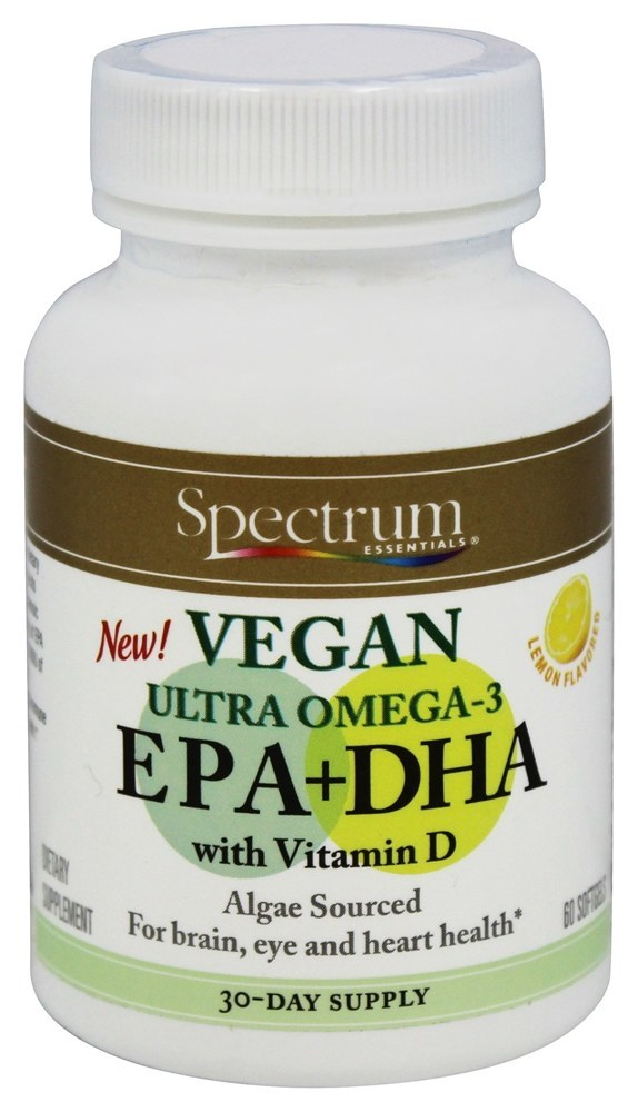 Spectrum Essentials Vegan Ultra Omega 3 Epa Dha With Vitamin D Vegan Vitamins Omega 3 Epa Dha Vitamins