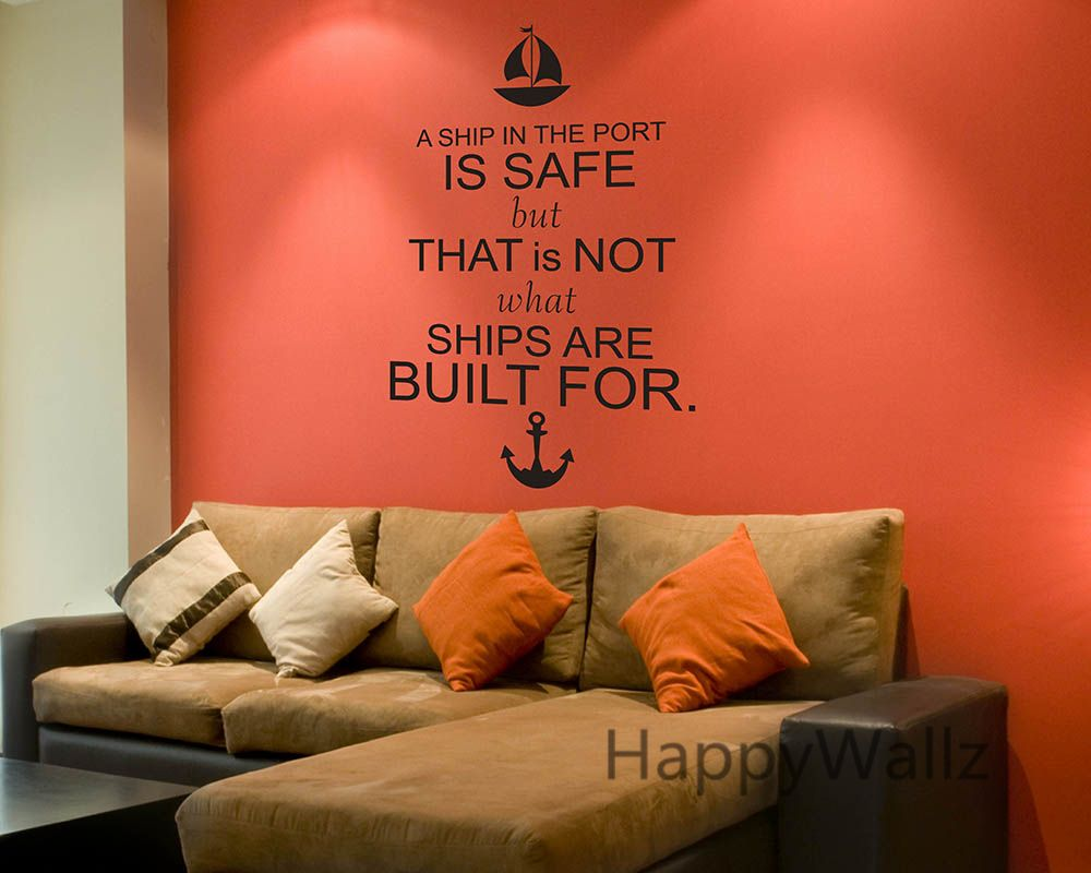 Motivational quote wall sticker ship in the port inspirational motivational quote wall sticker ship in the port inspirational lettering quote wall decal diy modern wallpaper amipublicfo Images