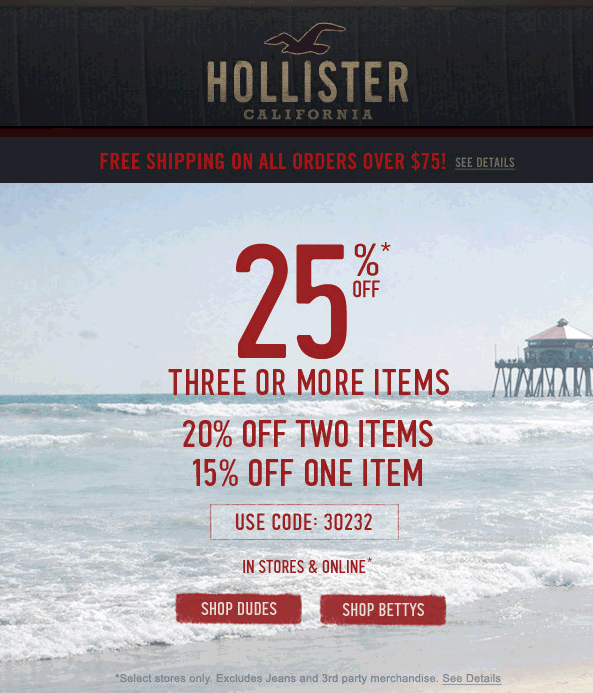 hollister 15 off
