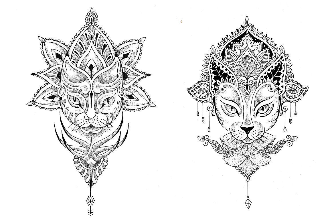 Mandala Cat 2 Vector Tattoo Designs Cat Tattoo Designs Egyptian Cat Tattoos Custom Tattoo Design