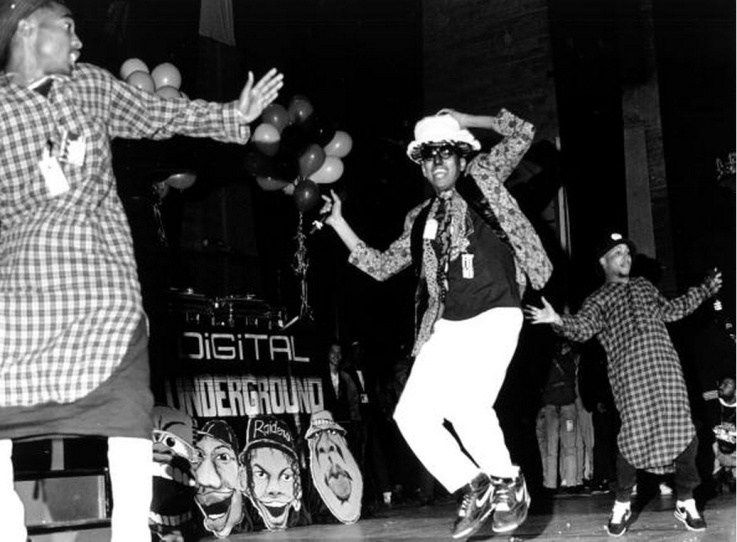 Tupac performing with Digital Underground, January 1, 1990