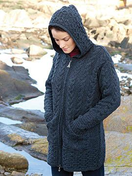 406e8a56014b Charcoal Trinity Zipper Hooded Sweater Three-quarter length sweater is  downright cozy. Merino wool offers excellent warmth without bulk. Celtic  knot design ...