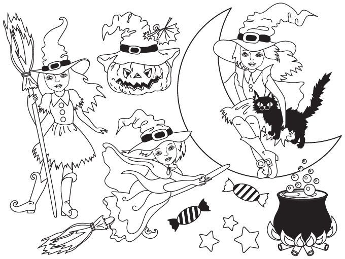 70 Off Sale Halloween Witch Clipart Digital Vector Black Amp White Witch Moon Broom Witch Clip Art Witch Clipart Halloween Witch White Witch