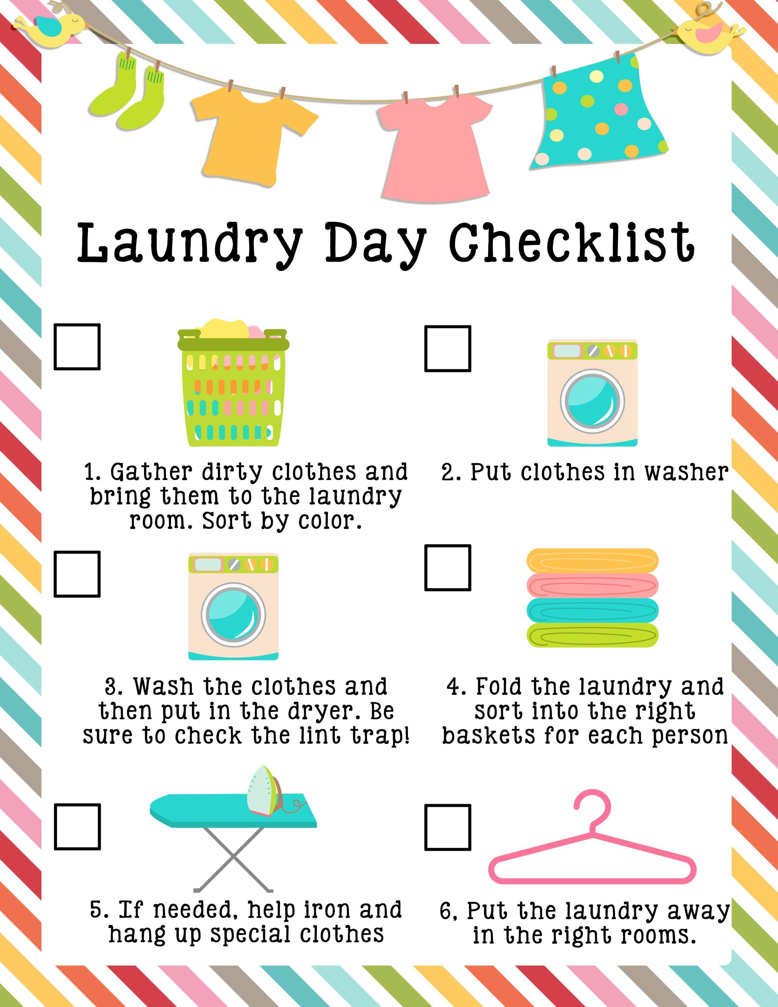 Kids Laundry Checklist Printable Edit