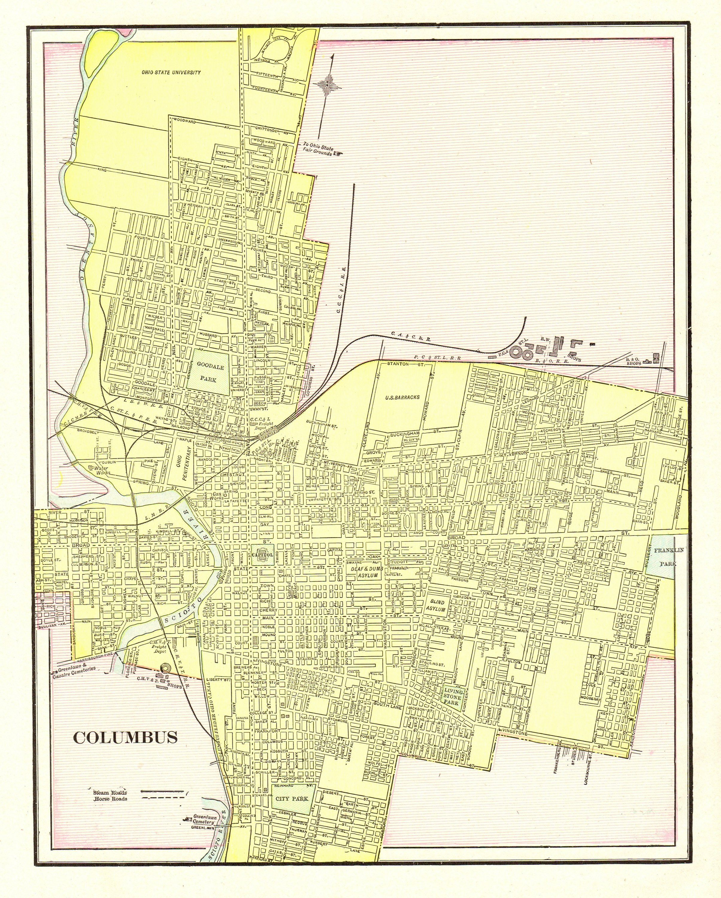 1901 Antique COLUMBUS CITY Map Reproduction Print of Columbus Ohio ...