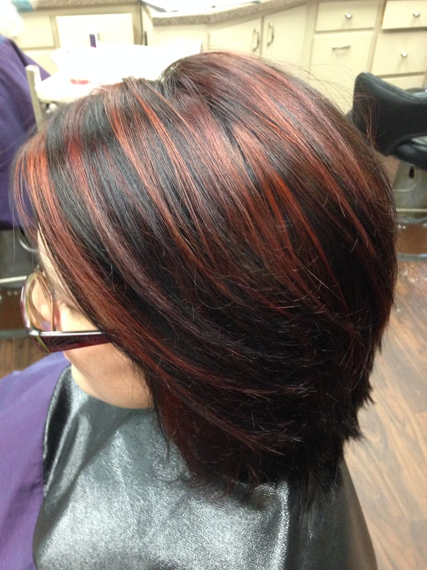 Red Highlights With A Dark Brown Base Color Great Look For Fall Hair Styles Red Highlights In Brown Hair Hair Highlights