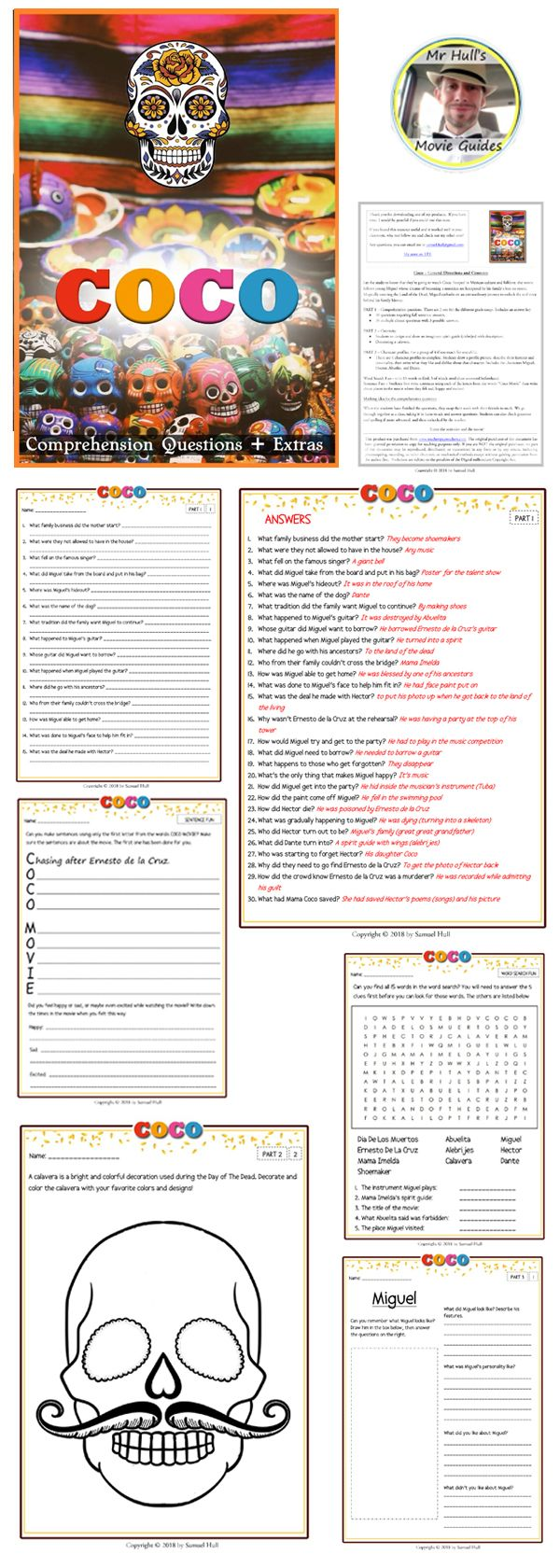 Coco Movie Guide Activities Answer Key Included Color Black