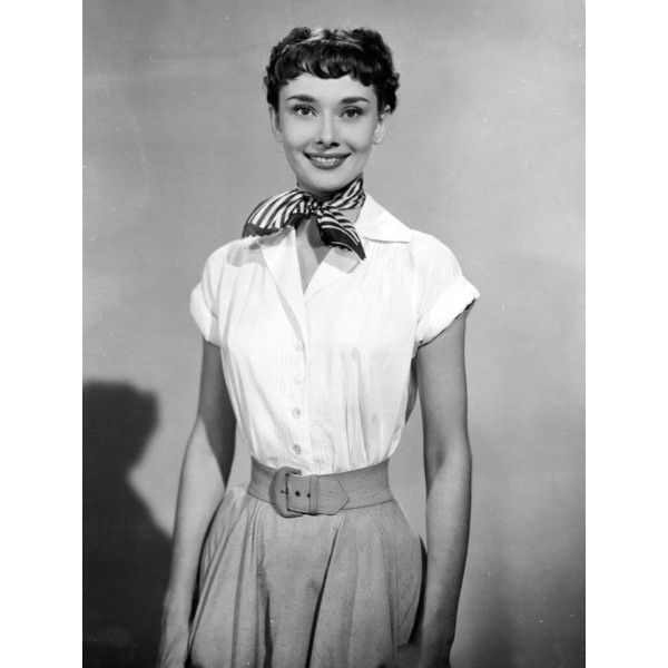 Audrey Hepburn, Roman Holiday, 1953 ❤ liked on Polyvore featuring home, home decor, holiday decorations, holiday decor and holiday home decor