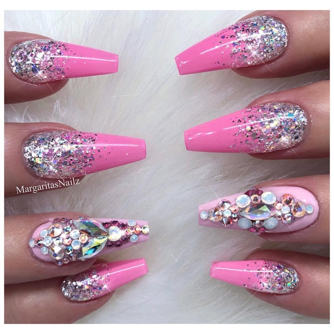 Pink Barbie nails Glitter Ombré nail art design Coffin shape ...