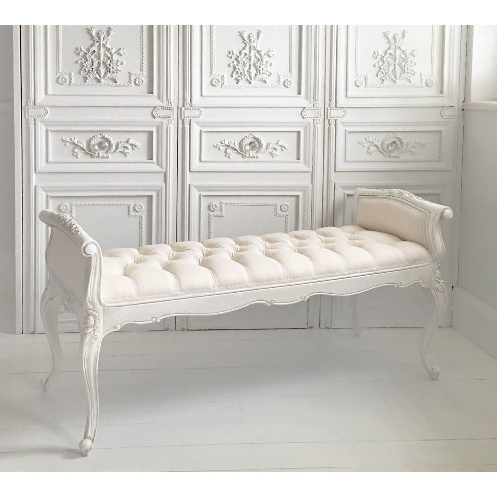 Provencal White Long Stool Perfect For The Bedroom Under A Window
