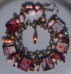Scrabble Charm Bracelet- Orginal Designed Paper Beads-Matching Earings-Paris Themed (paper beads created from artist's own photographs) $55