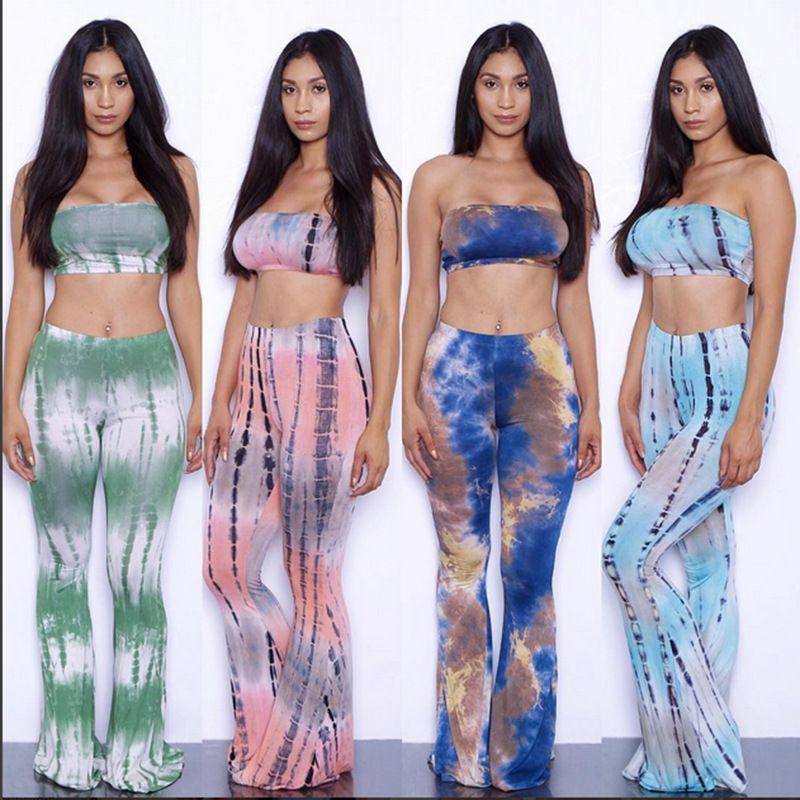 bb50ecf6f84 15 Colors Tie Dye Flare Pants Women Tracksuits American Hot Sale Wide Leg  Pants + Sexy Bra Crop Tops Women Pants 2 Piece Set 2XL