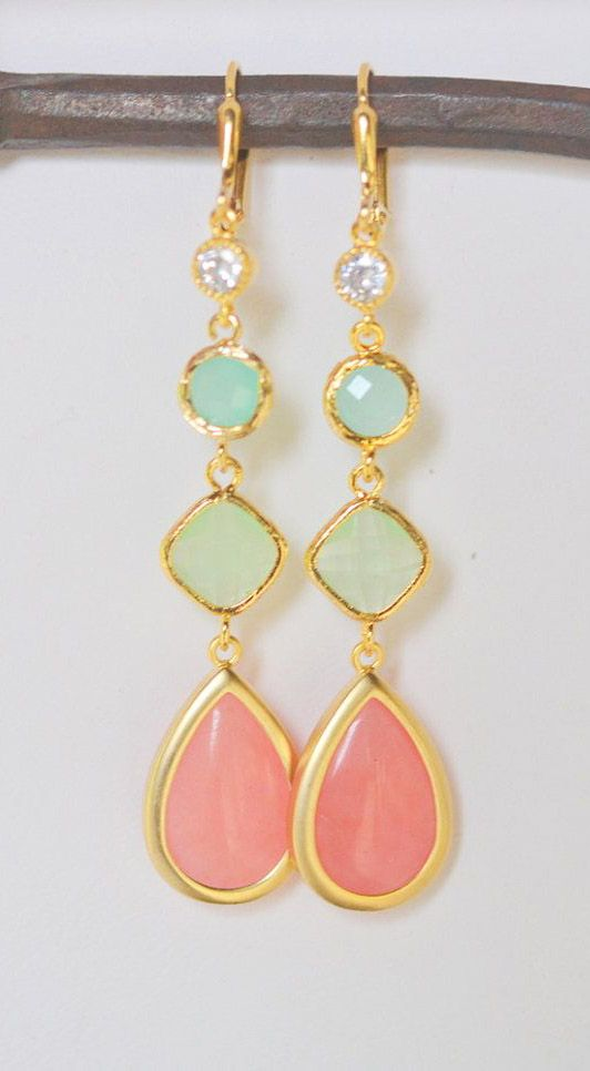 Long Jewel Earrings in Coral Pink Mint and Aqua