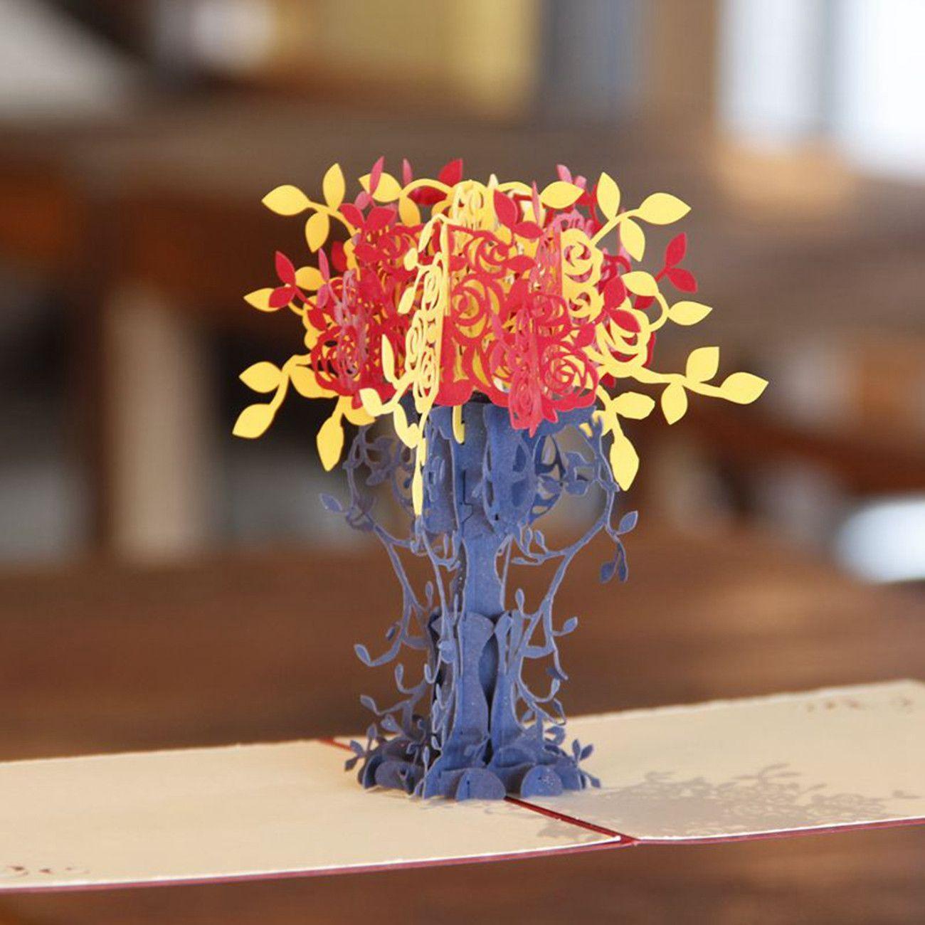 Flowerpot kirigami diy d pop up laser cut artesanato origami paper
