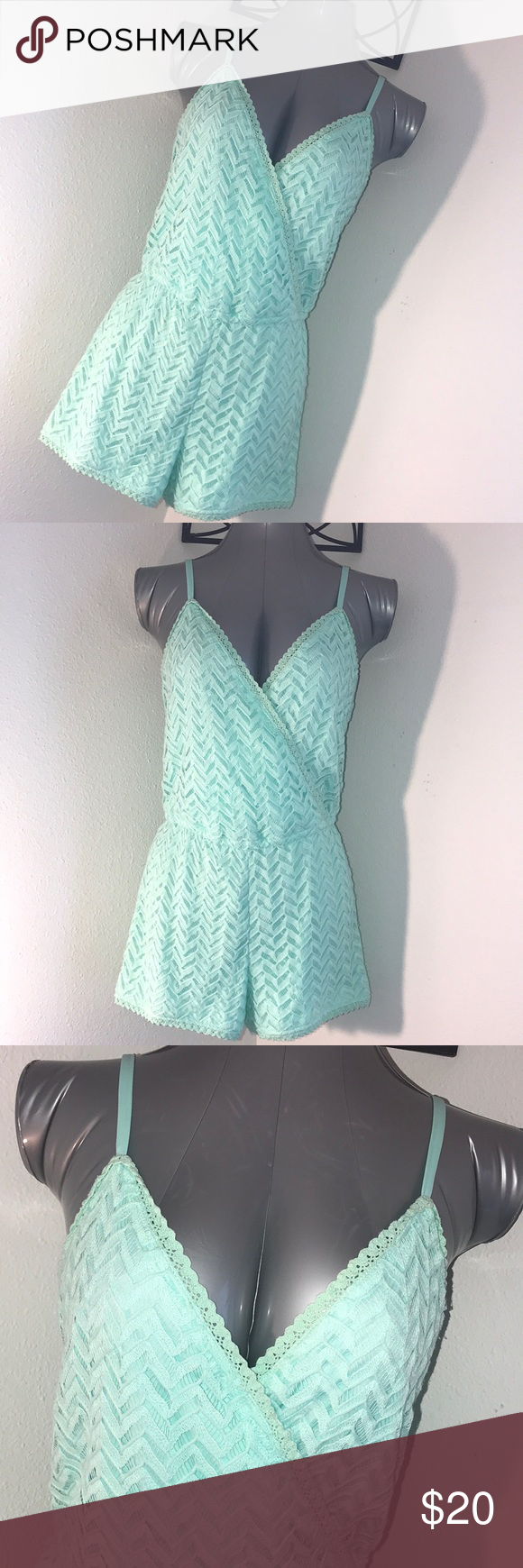 97429eb918c Chevron Lace Romper Gorgeous Mint lace