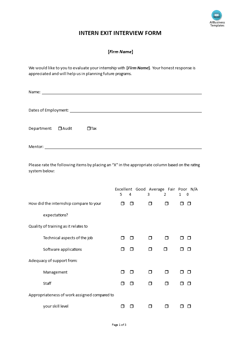 How To Set Up An Intern Exit Interview Download This Exit Interview Form Template For Intern Exit Interview Now Business Questions Interview Format Interview