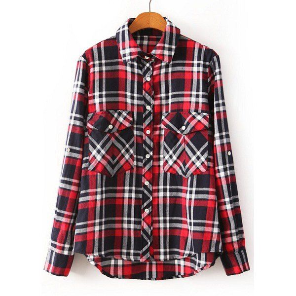 a2851bcb Preppy Style Polo Collar Plaid Asymmetrical Hem Long Sleeve Blouse For Women,  AS THE PICTURE, S in Blouses | DressLily.com