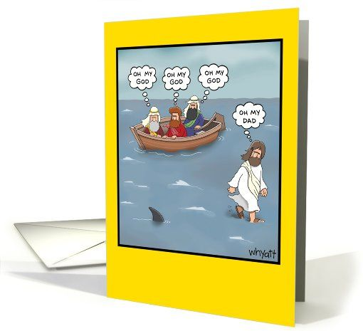 Oh My Dad Walk On Water Shark Birthday Card 1090120 By Nobleworks