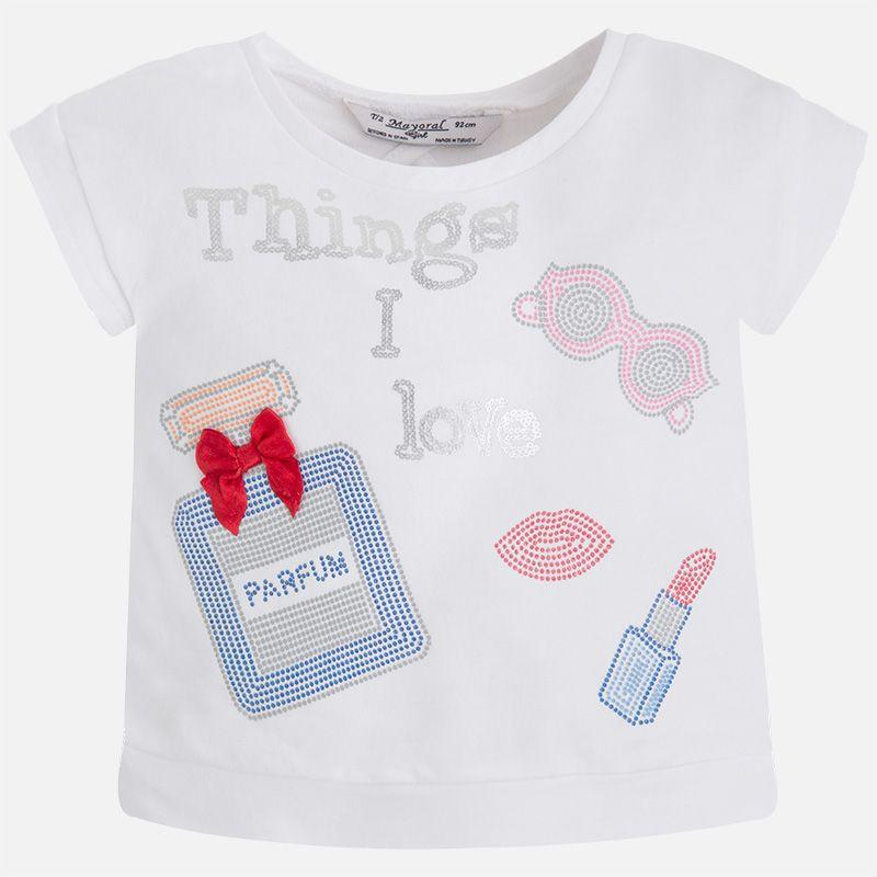 Camiseta niña manga corta espalda abierta lentejuelas Blanco